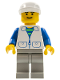 Minifig No: trn112  Name: Suit with 2 Pockets White - Light Gray Legs, White Cap