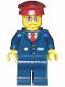 Minifig No: trn115  Name: Dark Blue Suit with Train Logo, Dark Blue Legs, Dark Red Hat, Rectangular Glasses - Passenger Train Engineer