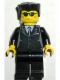Minifig No: trn116  Name: Suit Black, Flat Top, Blue Sunglasses