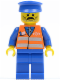 Minifig No: trn118  Name: Orange Vest with Safety Stripes - Blue Legs, Moustache, Blue Hat