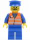 Minifig No: trn118  Name: Orange Vest with Safety Stripes - Blue Legs, Moustache, Blue Hat