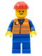 Minifig No: trn121  Name: Orange Vest with Safety Stripes - Blue Legs, Red Construction Helmet