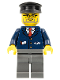 Minifig No: trn122  Name: Dark Blue Suit with Train Logo, Dark Bluish Gray Legs, Black Hat, Gray Beard