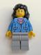 Minifig No: trn125  Name: Medium Blue Jacket, Light Bluish Gray Legs, Black Mid-Length Female Hair