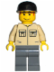 Minifig No: trn127  Name: Shirt with 2 Pockets No Collar, Dark Bluish Gray Legs, Black Cap