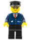 Minifig No: trn128  Name: Dark Blue Suit with Train Logo, Black Legs, Brown Eyebrows, Black Hat