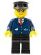 Minifig No: trn128  Name: Dark Blue Suit with Train Logo, Black Legs, Black Hat