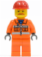 Minifig No: trn129a  Name: Orange Vest with Safety Stripes - Orange Legs, Red Construction Helmet, Brown Moustache, Dark Bluish Gray Hands