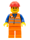 Minifig No: trn130  Name: Orange Vest with Safety Stripes - Orange Legs, Red Construction Helmet, Red Bangs