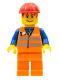 Minifig No: trn130  Name: Orange Vest with Safety Stripes - Orange Legs, Red Construction Helmet, Red Bangs