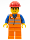 Minifig No: trn132  Name: Orange Vest with Safety Stripes - Orange Legs, Red Construction Helmet, Black Hair, Eyebrows, and Smirk