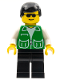 Minifig No: trn136  Name: Jacket Green with 2 Large Pockets - Black Legs, Black Male Hair