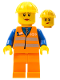 Minifig No: trn145  Name: Orange Vest with Safety Stripes - Orange Legs, Yellow Construction Helmet, Female Dual Sided Head