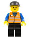 Minifig No: trn147  Name: Orange Vest with Safety Stripes - Black Legs, Black Cap