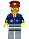 Minifig No: trn148  Name: Dark Blue Suit with Train Logo, Dark Bluish Gray Legs, Dark Red Hat, Beard and Glasses