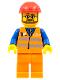 Minifig No: trn224  Name: Orange Vest with Safety Stripes - Orange Legs, Red Construction Helmet, Beard and Glasses