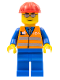 Minifig No: trn225  Name: Orange Vest with Safety Stripes - Blue Legs, Silver Glasses, Red Construction Helmet