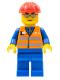 Minifig No: trn225  Name: Orange Vest with Safety Stripes - Blue Legs, Silver Glasses, Red Construction Helmet
