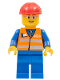 Minifig No: trn226  Name: Orange Vest with Safety Stripes - Blue Legs, Gray Frame Glasses, Red Construction Helmet