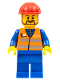 Minifig No: trn230  Name: Orange Vest with Safety Stripes - Blue Legs, Red Construction Helmet, Brown Beard Rounded
