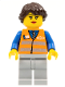 Minifig No: trn233  Name: Orange Vest with Safety Stripes - Light Bluish Gray Legs, Dark Brown Hair Ponytail Long French Braided