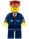 Minifig No: trn234  Name: Dark Blue Suit with Train Logo, Dark Blue Legs, Dark Red Hat - Steward