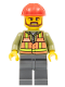 Minifig No: trn235  Name: Light Orange Safety Vest, Dark Bluish Gray Legs, Red Construction Helmet, Brown Beard