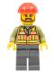 Minifig No: trn235  Name: Light Orange Safety Vest, Dark Bluish Gray Legs, Red Construction Helmet, Brown Beard