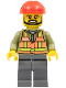 Minifig No: trn235a  Name: Light Orange Safety Vest, Dark Bluish Gray Legs, Red Construction Helmet, Black Beard