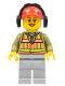 Minifig No: trn236  Name: Light Orange Safety Vest, Light Bluish Gray Legs, Red Cap with Hole, Headphones, Peach Lips