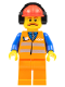 Minifig No: trn240  Name: Orange Vest with Safety Stripes - Orange Legs, Red Construction Helmet with Headset