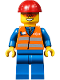 Minifig No: trn241  Name: Orange Vest with Safety Stripes - Blue Legs, Red Construction Helmet, Orange Sunglasses