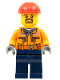 Minifig No: trn242  Name: Forklift Driver - Chest Pocket Zippers, Belt over Dark Gray Hoodie, Dark Blue Legs, Red Construction Helmet, Brown Beard