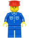 Minifig No: trn252  Name: Shirt with 6 Buttons - Blue, Blue Legs, Red Hat (Reissue)