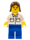 Minifig No: twn001  Name: Shirt with 2 Pockets, Blue Legs, Brown Female Hair