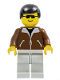 Minifig No: twn003  Name: Jacket Brown - Light Gray Legs, Black Male Hair, Black Sunglasses