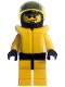 Minifig No: twn005a  Name: Race - Driver, Yellow Tiger, Standard Helmet, Life Jacket