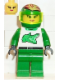 Minifig No: twn008  Name: Race - Driver, Green Alligator, Helmet with Flames