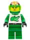 Minifig No: twn008  Name: Race - Green, Green Flame Helmet
