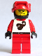 Minifig No: twn009  Name: Race - Driver, Red Scorpion, Black Helmet