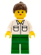 Minifig No: twn014  Name: Shirt with 2 Pockets, Green Legs, Brown Ponytail Hair