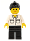 Minifig No: twn016  Name: Shirt with 2 Pockets, Black Legs, Black Ponytail Hair