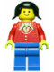 Minifig No: twn017  Name: Patron - Red Torso with Buttons and Collar (Torso Sticker), Blue Legs, Black Pigtails Hair
