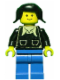 Minifig No: twn018  Name: Patron - Black Torso with Pockets and Collar (Torso Sticker), Blue Legs, Black Pigtails Hair
