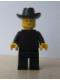 Minifig No: twn019  Name: Patron - Black Torso (without Torso Sticker), Black Legs, Black Cowboy Hat
