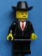 Minifig No: twn019s2  Name: Patron - Black Suit with Red Tie (Torso Sticker), Black Legs, Black Cowboy Hat