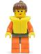 Minifig No: twn022  Name: Orange Rock Raiders Shirt, Brown Ponytail Hair, Life Jacket