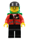 Minifig No: twn026  Name: Red Jacket with Zipper Pockets and Classic Space Logo, Black Legs, Black Cap, Green Backpack with Sleeping Bag