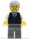 Minifig No: twn028  Name: Black Vest with Blue Striped Tie, Dark Bluish Gray Legs, White Arms, Light Bluish Gray Male Hair, Glasses