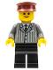 Minifig No: twn032  Name: Pinstripe Suit Jacket, Black Legs, Dark Red Hat, Standard Grin